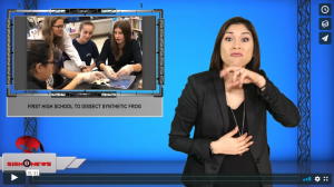 Sign 1 News with Crystal Cousineau - First high school to dissect synthetic frog (ASL - 12.1.19)