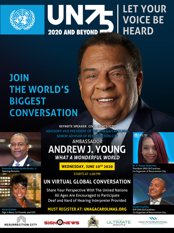 Sign1News helps host Ambassador Andrew Young and United Nations UN75 virtual production